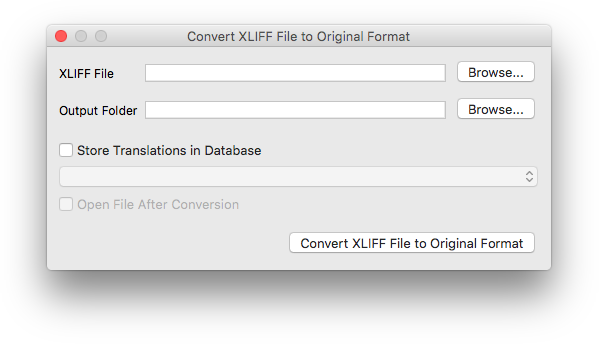 Convert XLIFF File to Original Format dialog