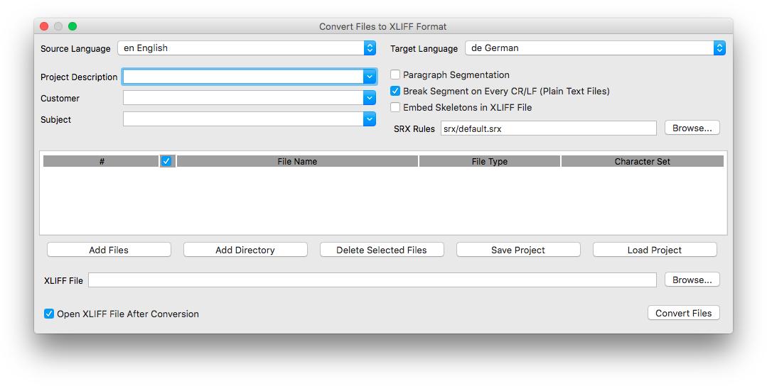 Convert File to XLIFF Format dialog