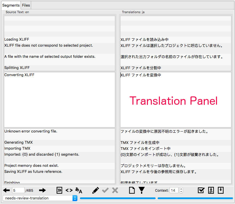 Translation Panel
